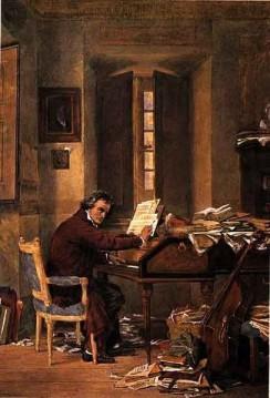 Ludwig van Beethoven in seinem Arbeitszimmer