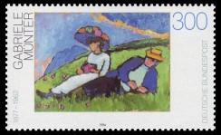 Bild von Gabriele Münter auf einer Briefmarke von 1994 der Deutschen Bundespost