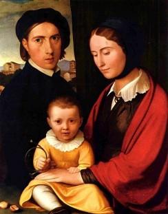 Johann Friedrich Overbeck - Selbstporträt des Künstlers mit Frau und Sohn Alfons